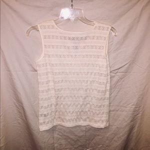 St. John's Bay Tops - Textured Sleeveless White Blouse.
